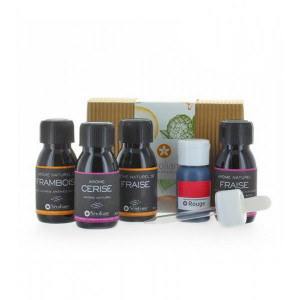 Coffret 4 aromes naturels fruits rouges 50 ml, colorant rouge 30 ml + 1 pipette offerte